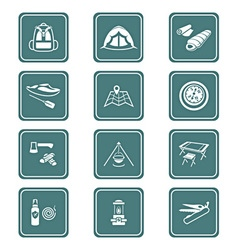 Camping set - TEAL series vector image