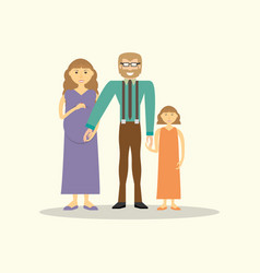 family couple pregnancy and daughter vector image