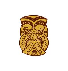 Maori Mask Woodcut vector image