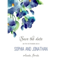 Wedding invitation watercolor with violet flowers vector