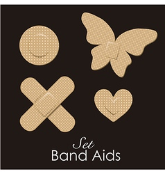Band aids collection skin color animal forms vector image