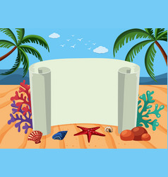 banner template with beach background vector image vector image
