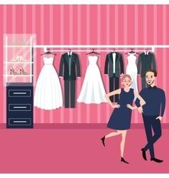 couple man woman select wedding dress in bridal vector image vector image