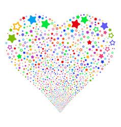 decoration stars fireworks heart vector image