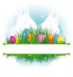 Easter background grass with rabbit vector image vector image