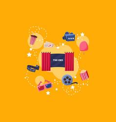 elements of film industry set scene camera vector image