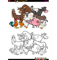 farm animal characters coloring book vector image vector image