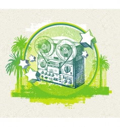 hand drawn retro tape recorder vector image