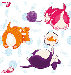 seamless pattern with funny pussycats on a vector image vector image