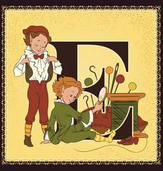 children book cartoon fairytale alphabet letter e vector image vector image