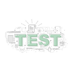 design concept of word test website banner vector image vector image