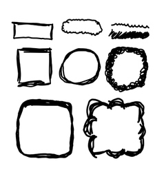 Hand drawn frames lines and circle collection vector image vector image