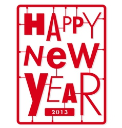 Happy new year card typography letters type font vector image