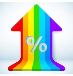 Rainbow grow up arrow with percent sign vector image