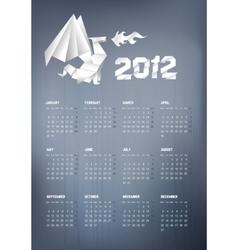 2012 origami dragon calendar vector image vector image