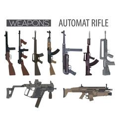firearm set automatic rifle machine gun flat vector image