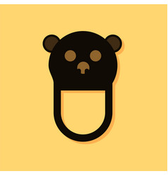Flat icon design teddy bear bib in sticker style vector