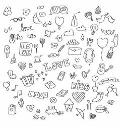 Love doodle set vector image vector image