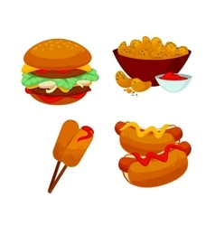 Set of fast food meals Collection cartoon snack vector image vector image