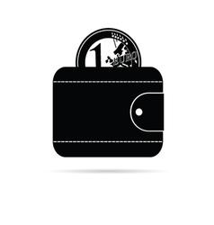 wallet icon with black euro coin vector image vector image