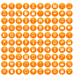 100 cyber security icons set orange vector