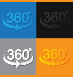 360 sign in 3d flat style vector