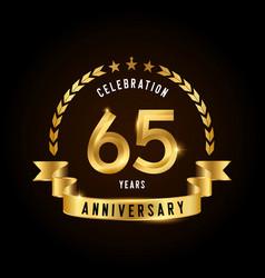 65 years anniversary celebration logotype golden vector