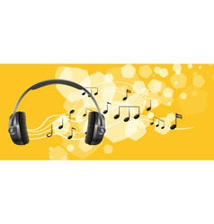 A headset and the musical notes vector image