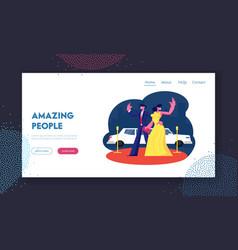 Actors characters on award ceremony website vector