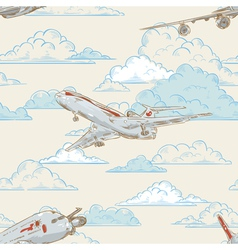 Airplanes on cloudy backgorund card vector image