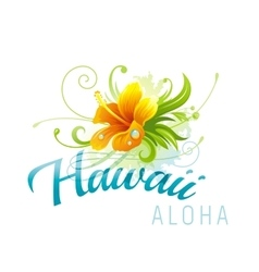 Aloha Hawaii hibiscus grunge vector