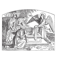 Angel and women at the empty tomb vintage vector
