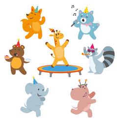 Animal characters having fun at birthday party vector
