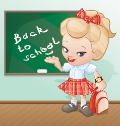 back to school girl cartoon vector image