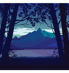 Background of landscape with river and mountains vector image