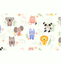 background pattern cute little animals vector image