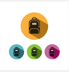 Backpack icon with shadow on colored circles vector