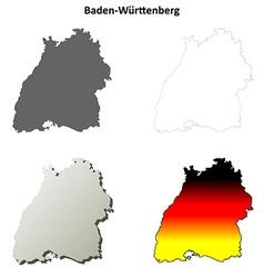 Baden-Wurttenberg outline map set vector image