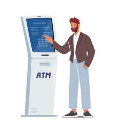 Banking transaction service man insert password vector