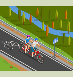 bicycle tandem trip isometric composition vector image