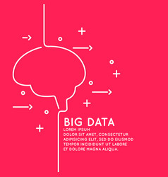 big data in a linear style on a red vector image