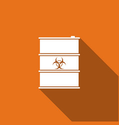 Biological hazard or biohazard barrel flat icon vector