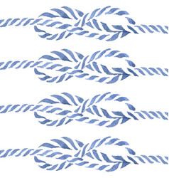 blue rope knot eight hand drawn watercolo vector image
