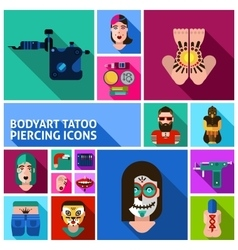 Bodyart Tattoo Piercing Images Set vector