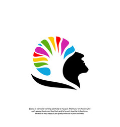 Brain with tree logo design concept people head vector