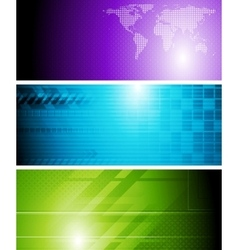 Bright tech banners vector