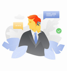 business man with smartphone vector image