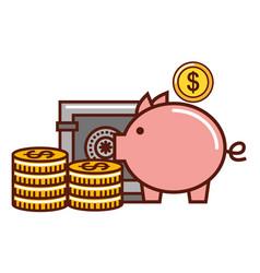 business piggy bank money coins safe box vector image