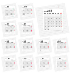calendar 2017 set business in colorful vector image