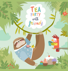 Card with cute sloth and little parrot vector